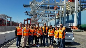 Thomas Radcliff touring TraPac's automated terminal in Southern California.  For those that have not met Thomas, he is the tall guy in the center.